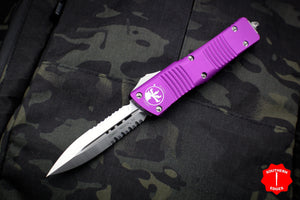 Microtech Combat Troodon Violet Double Edge OTF with Part Serrated Satin Blade 142-5 VI