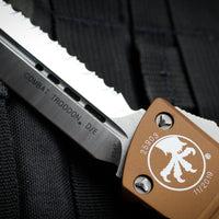 Microtech Combat Troodon Tan Double Edge OTF with Full Serrated Satin Blade 142-6 TA