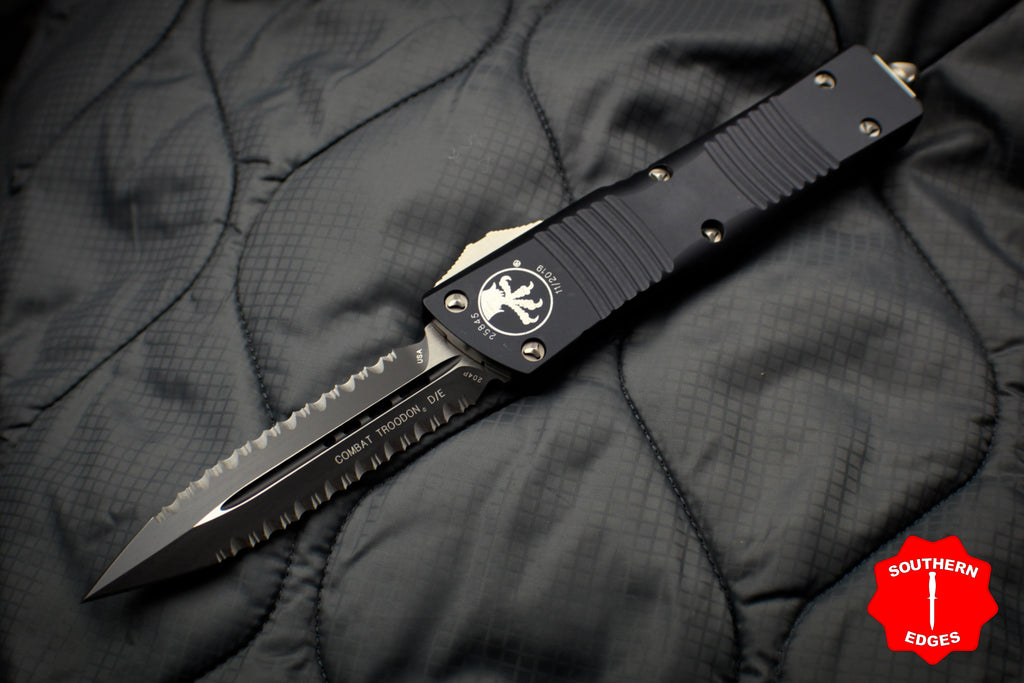 Microtech Combat Troodon Black Double Edge DOUBLE Full Serrated Black Blade 142-D3