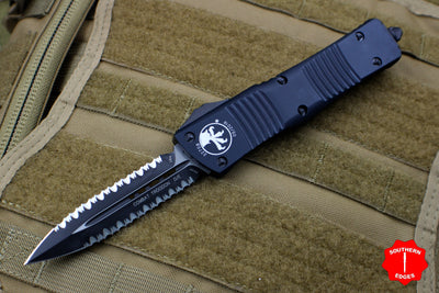 Microtech Combat Troodon Tactical Black Double Edge Double Full Serrated Black Blade 142-D3 T