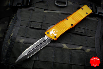 Microtech Combat Troodon Orange Double Edge Double Full Serrated Black Blade 142-D3 OR
