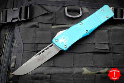 Microtech Combat Troodon Turquoise Single Edge Stonewash Blade 143-10 TQ