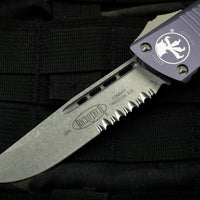 Microtech Combat Troodon Gray Single Edge Stonewash Part Serrated Blade 143-11 GY