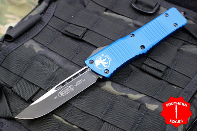 Microtech Combat Troodon Blue Single Edge OTF Black Blade 143-1 BL