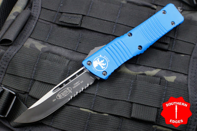 Microtech Combat Troodon Blue Single Edge OTF Black Part Serrated Blade 143-2 BL