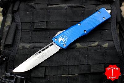 Microtech Combat Troodon Blue OTF Single Edge Satin Blade 143-4 BL