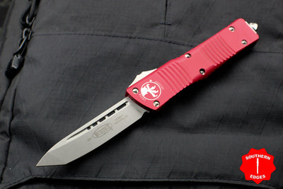 Microtech Combat Troodon Red Tanto Edge OTF with Stonewash Blade 144-10 RD