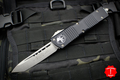 Microtech Combat Troodon Black Tanto Edge OTF With Stonewash Blade 144-10