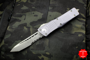 Microtech Combat Troodon Gray Tanto Edge Part Serrated Stonewash Blade 144-11 GY