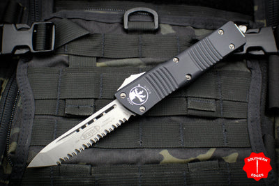 Microtech Combat Troodon Black Tanto Edge Full Serrated Stonewash Blade 144-12