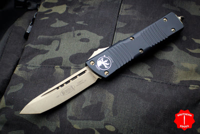 Microtech Combat Troodon Black Tanto Edge OTF With Bronzed Blade 144-13