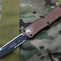 Microtech Combat Troodon Tan Tanto Black Part Serrated Blade 144-2TA