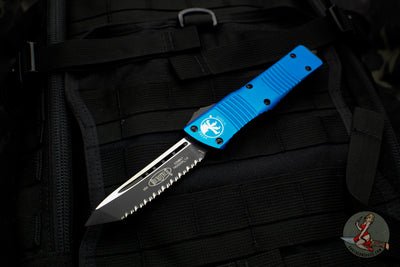 Microtech Combat Troodon Blue Tanto Edge Black Full Serrated Blade 144-3 BL