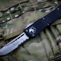 Microtech Combat Troodon Black T/E Satin Part Serrated Blade 144-5