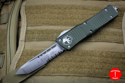Microtech Combat Troodon OD Green Satin Part Serrated Blade 143-5 OD