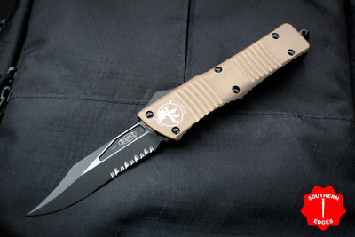 Microtech Combat Troodon Tan Black Bowie Part Serrated Blade 146-2 TA