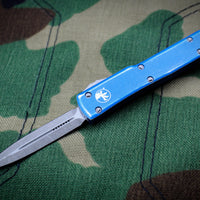 Microtech UTX-70 Distressed Blue Double Edge (OTF) Apocalyptic Blade 147-10 DBL