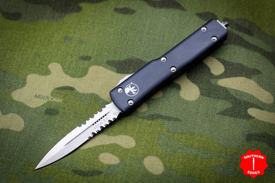 Microtech UTX-70 Black Double Edge (OTF) Stonewash Part Serrated Blade 147-11