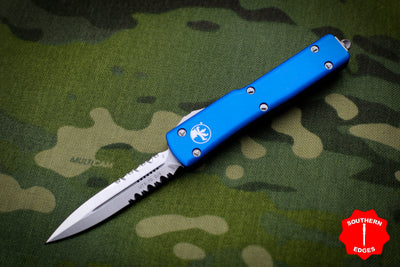 Microtech UTX-70 Blue Double Edge (OTF) Stonewash Part Serrated Blade 147-11 BL