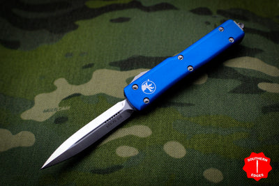 Microtech UTX-70 Blue Double Edge (OTF) Satin Blade 147-4 BL
