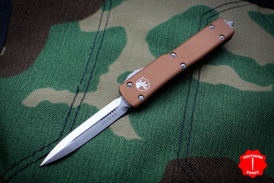 Microtech UTX-70 Tan Double Edge (OTF) Satin Blade 147-4 TA
