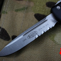 Microtech UTX-70 Black Single Edge (OTF) Part Serrated Stonewash Blade 148-11