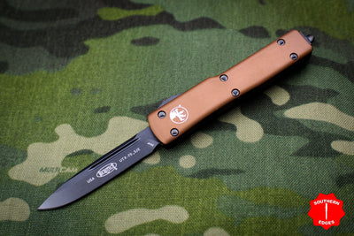 Microtech UTX-70 Tan with Single Edge (OTF) Full DLC Blade and Hardware 148-1 DLCTTA