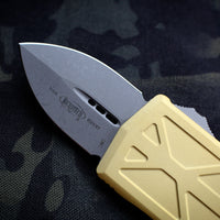 Microtech Exocet Champagne Gold Wallet Money Clip Double Edge Out The Front (OTF) Apocalyptic Blade 157-10 APCG