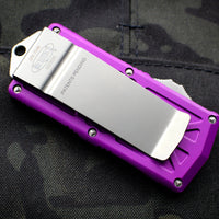 Microtech Exocet Violet Wallet Money Clip Double Edge Out The Front (OTF) Stonewash Blade 157-10 VI