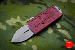 Microtech Exocet Merlot Red Wallet Money Clip Double Edge Out The Front (OTF) Apocalyptic Blade 157-10 APMR