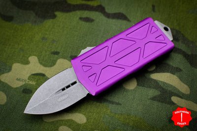 Microtech Exocet Violet Wallet Money Clip Double Edge Out The Front (OTF) Apocalyptic Blade 157-10 APVI
