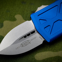 Microtech Exocet Blue Wallet Money Clip Double Edge Out The Front (OTF) Stonewash Blade 157-10 BL