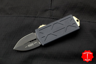 Microtech Exocet Money Clip Black Double Edge Out The Front (OTF) Knife With Black SOLID DLC Blade and Bronze HW 157-1 DLCBZ