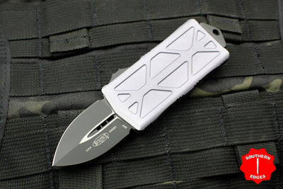 Microtech Exocet Gray Money Clip Double Edge Out The Front (OTF) Knife With Black Blade 157-1 GY
