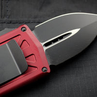 Microtech Exocet Merlot Red Money Clip Double Edge Out The Front (OTF) Knife With Black Blade 157-1 MR