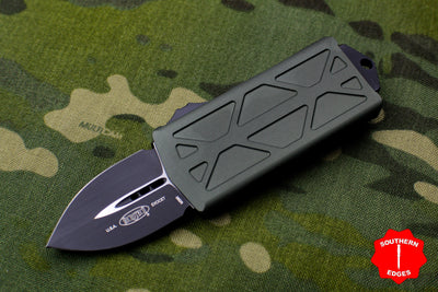 Microtech Exocet OD Green Money Clip Double Edge Out The Front (OTF) Knife With Black Blade 157-1 OD