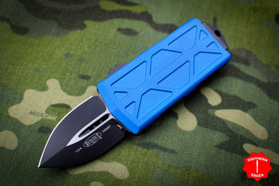 Microtech Exocet Blue Money Clip Double Edge Out The Front (OTF) Knife With Black Blade 157-1 BL