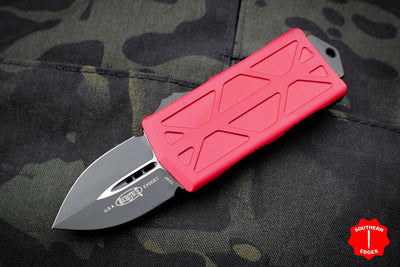 Microtech Exocet Red Money Clip Double Edge Out The Front (OTF) Knife With Black Blade 157-1 RD