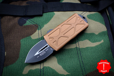 Microtech Exocet Tan Money Clip Double Edge Out The Front (OTF) Knife With Black Blade 157-1 TA
