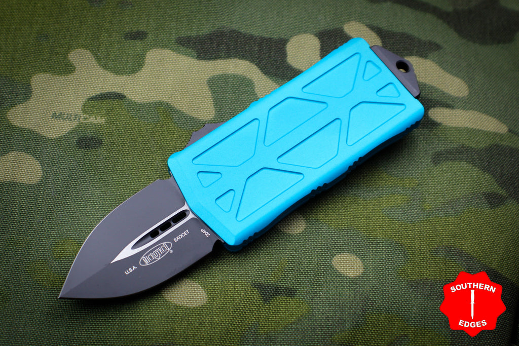 Microtech Exocet Turquoise Money Clip Double Edge Out The Front (OTF) Knife With Black Blade 157-1 TQ