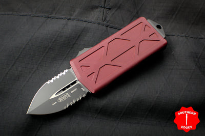 Microtech Exocet Merlot Red Money Clip Double Edge Out The Front (OTF) Knife With Black Part Serrated Blade 157-2 MR