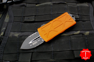 Microtech Exocet Orange Money Clip Double Edge Out The Front (OTF) Knife With Black Part Serrated Blade 157-2 OR