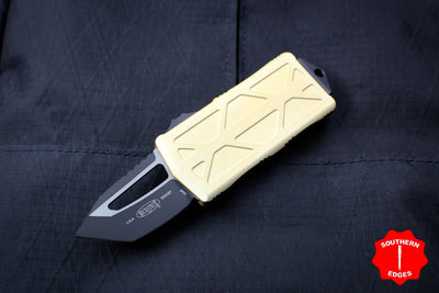 Microtech Exocet Champagne Gold Wallet Money Clip Tanto Edge Out The Front (OTF) Black Blade 158-1 CG