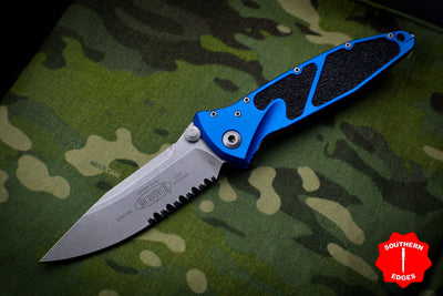 Microtech Socom Elite Blue Single Edge Manual Folder Stonewash Part Serrated Blade 160-11 BL