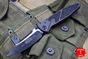 Microtech Socom Elite Single Edge Manual Folder Two-tone Black Tactical Blade 160-1T