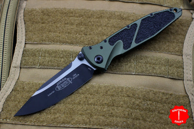 Microtech Socom Elite OD Green Single Edge Manual Folder Two-tone Black Blade 160-1 OD