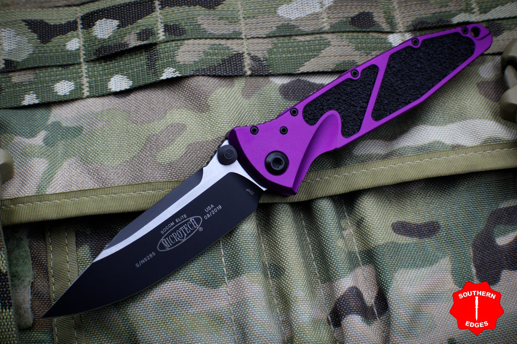 Microtech Socom Elite Violet Single Edge Manual Folder Two-tone Black Blade 160-1 VI