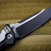 Microtech Socom Elite Single Edge Manual Folder Two-tone Black Part Serrated Blade 160-2