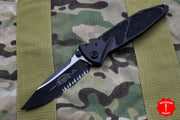 Microtech Socom Elite Tactical Single Edge Manual Folder Two-tone Black Part Serrated Blade 160-2 T