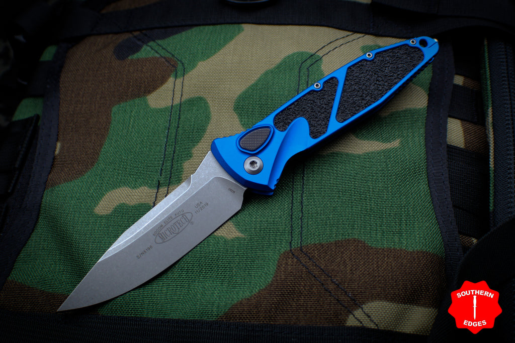 Microtech Blue Socom Elite Auto (OTS) Single Edge Folder Stonewash Blade 160A-10 BL